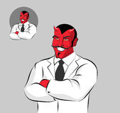 Devil doctor. Satan with horns in doctors white coat. Horrible R Royalty Free Stock Photo