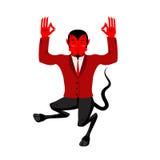 Devil does yoga. Red demon in lotus position. Happy Satan.  Stock Photo