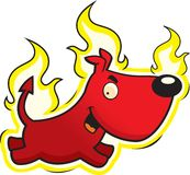 Devil Dog. A cartoon dog with flames around it Stock Photo