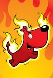 Devil Dog. A cartoon dog surrounded by flames Stock Photos