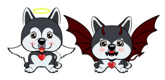 Devil Dog with horns and bat wings and happy dog angel. dog Alaskan Malamute. Devil Dog with horns and bat wings and happy dog angel Stock Illustration