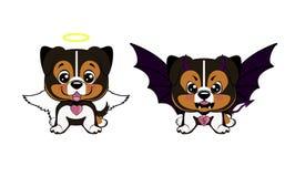 Devil Dog with horns and bat wings and happy dog angel. Australian shepherd cartoon. Devil Dog with horns and bat wings and happy dog angel Vector Illustration