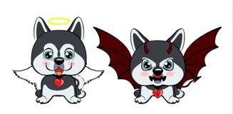 Devil Dog with horns and bat wings and happy dog angel. Dog Alaskan Kli Kai breed sitting Royalty Free Illustration