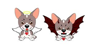 Devil Dog with horns and bat wings and happy dog angel. Dog American Naked Terrier Royalty Free Illustration