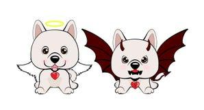 Devil Dog with horns and bat wings and happy dog angel. Eskimo Dog or Spitz Stock Illustration