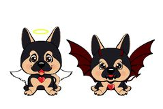 Devil Dog with horns and bat wings and happy dog angel. German Shepherd Stock Illustration