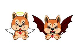 Devil Dog with horns and bat wings and happy dog angel. Sitting Akita Inu illustration Vector Illustration