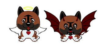 Devil Dog with horns and bat wings and happy dog angel. Dog American Akita. Devil Dog with horns and bat wings and happy dog angel Stock Illustration