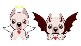 Devil Dog with horns and bat wings and happy dog angel. Dogo Argentino dog sitting flat design. Devil Dog with horns and bat wings and happy dog angel royalty free illustration