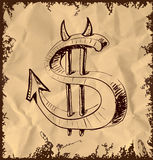 Devil dollar icon on vintage background Stock Image