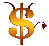The Devil dollar sign. On a white background Stock Photos