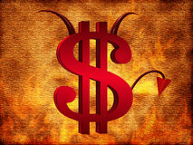 The Devil dollar sign. On a fiery background Stock Images