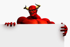 Devil with Edge of blank sign - with clipping path Royalty Free Stock Image