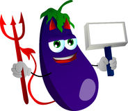 Devil eggplant with blank board Stock Photo