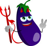 Devil eggplant gesturing the peace sign Royalty Free Stock Photos
