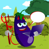 Devil eggplant holding laptop on a meadow Royalty Free Stock Photo