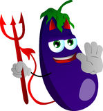 Devil eggplant holding a stop sign Stock Photography