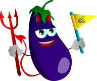 Devil eggplant sports fan with flag Royalty Free Stock Image