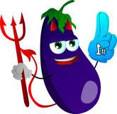 Devil eggplant sports fan with glove Royalty Free Stock Photo