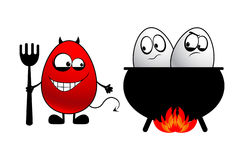 Devil and eggs Stock Images