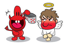 Devil embarasses Angel Royalty Free Stock Photo
