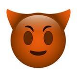 Devil emoticon funny icon Stock Image