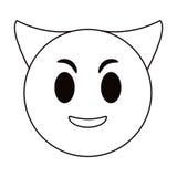 Devil emoticon funny thin line Stock Photo