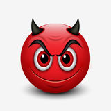 Devil emoticon isolated on white background - emoji -  illustration Royalty Free Stock Photo
