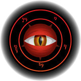 Devil Eye. Eye of powerful and diabolical Satan in magical sign Stock Image