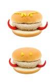 Devil face hamburger isolated on white background Stock Images