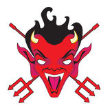 Devil face and pitchforks. Red faced devil with pitch forks Royalty Free Stock Image