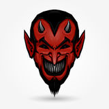 Devil face. Red devil face design on gray background Stock Image