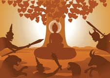 Devil fight to lord of Buddha to stop to enlighten after that th royalty free illustration