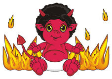 Devil on the fire. Red demon sit around a fire and watch Stock Images