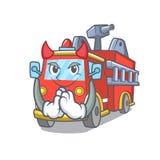 Devil fire truck mascot cartoon. Vector illustration Stock Photos