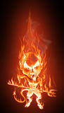 Devil in flames. Grotesque caricature of an angry burning devil. Cartoon style - Realistic flames effect Stock Photo