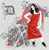 Devil girl. Girl in red dress with horns and bat wings Royalty Free Stock Images