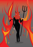 Devil girl. With flame background Royalty Free Stock Images