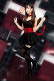 Devil girl cosplay Halloween woman sexy glamour Royalty Free Stock Image