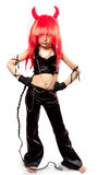 Devil girl. Devils carnival costume. Isolated royalty free stock images