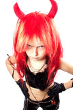Devil girl. Devils carnival  costume. Isolated Royalty Free Stock Photo