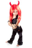 Devil girl. Devils carnival  costume. Isolated Stock Photography