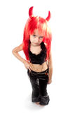 Devil girl. Devils carnival  costume. Isolated. Royalty Free Stock Photos