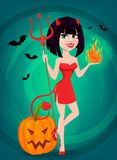 Devil girl for Halloween. Sexy she-devil with trident in one han Royalty Free Stock Photography