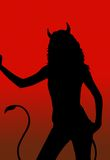Devil girl silhouette. Illustration with red background Stock Photography