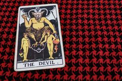 The DEVIL gypsy tarot. Relationship Man Woman Predict Evil Horoscope Nasty Lust Sensuality Stock Image