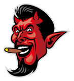 Devil head. Vector of devil head mascot with the cigar in his mouth royalty free illustration