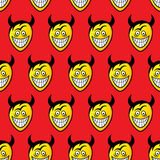 Devil heads. Seamless pattern. Seamless pattern made of funny cartoon devil heads. Vector format added Royalty Free Stock Photos