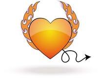 Devil Heart. A fire flamed devil heart Stock Photos
