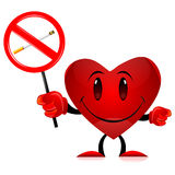 Devil heart with no smoking tag stock illustration